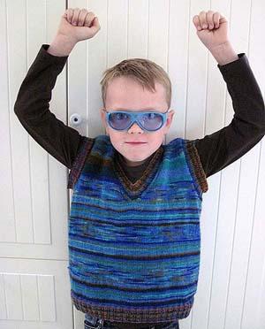 strikket slipover til dreng opskrift